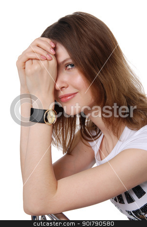 Attractive young woman stock photo, Attractive young woman isolated on white background by Vadim