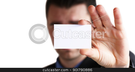 here is my name ..... stock photo, Businessman holding his business card in hand by Viktor Thaut