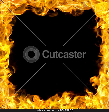 fire border with flames stock photo, fire flames border, copy space in the center. by Mtkang 