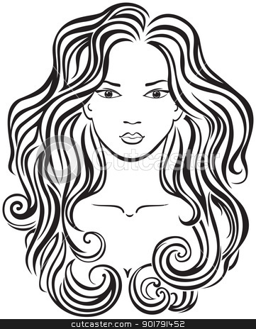 Beautiful girl's face stock vector clipart, Elegant line art of a beautiful girl by Allaya