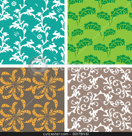 Four seamless backgrounds stock vector clipart, Decorative graphic color curly seamless background patterns by Allaya