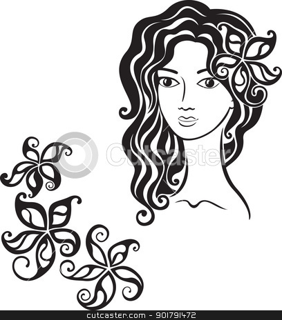 Beautiful girl with flower in her hair stock vector clipart, Elegant line art of a girl with a flower in her hair by Allaya
