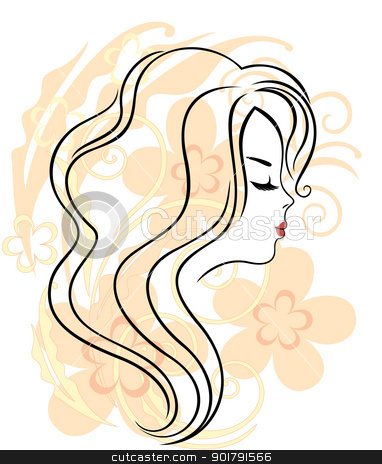 Beautiful girl's face on the flower background stock vector clipart, Elegant line art of a beautiful girl on the flower background by Allaya