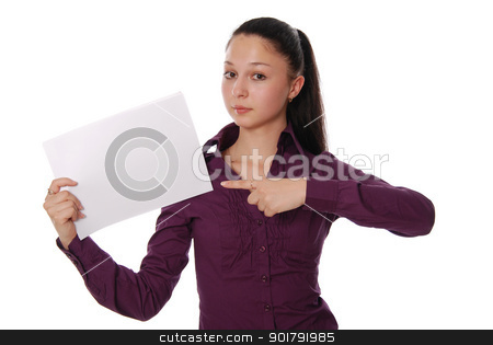 Woman pointing at a blank board stock photo, Portrait of a happy young businesswoman holding a blank bill board against white background by Vadim