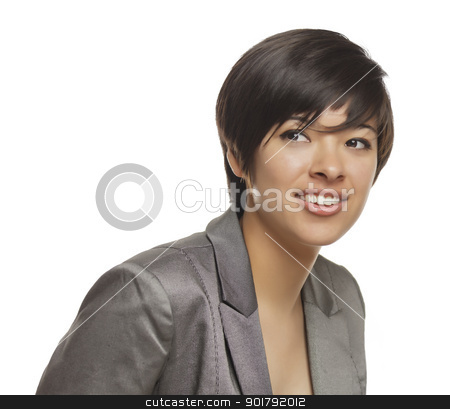 Pretty Mixed Race Young Adult on White stock photo, Pretty Mixed Race Young Adult Isolated on a White Background. by Andy Dean