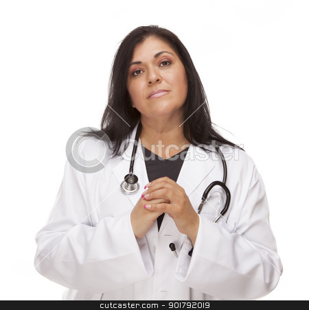Concerned Female Hispanic Doctor or Nurse stock photo, Concerned Female Hispanic Doctor or Nurse Isolated on a White Background. by Andy Dean