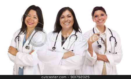 Three Hispanic Female Doctors or Nurses on White stock photo, Three Hispanic Female Doctors or Nurses Isolated on a White Background. by Andy Dean