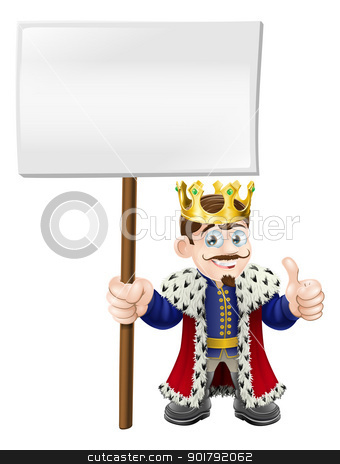 Thumbs up sign King stock vector clipart, A smiling happy king giving a thumbs up and holding up a sign by Christos Georghiou