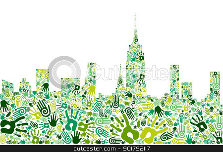 Go green hands city skyline background stock vector clipart, Go green crowd human hands icons in city skyline composition isolated over white. Vector file layered for easy manipulation and custom coloring by Cienpies Design