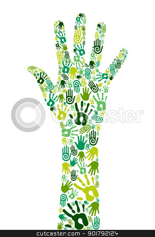 Go green collaborative hands stock vector clipart, Go green concept: human hands icons composition isolated over white background. Vector file layered for easy manipulation and custom coloring by Cienpies Design