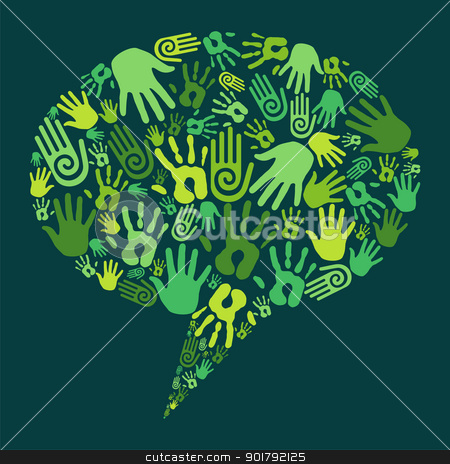 Go green hands communication concept stock vector clipart, Go green human hands icons in social media bubble. Vector file layered for easy manipulation and custom coloring by Cienpies Design