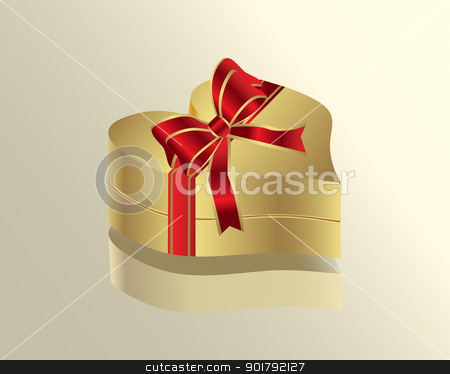 heart gift box stock vector clipart, Closed box with a heart-shaped form and ribbon by monicaodo