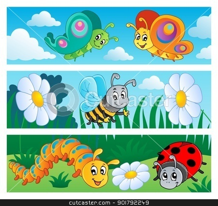 Bugs banners collection 1 stock vector clipart, Bugs banners collection 1 - vector illustration. by Klara Viskova