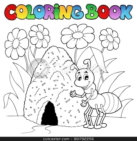 Coloring book ant near anthill stock vector clipart, Coloring book ant near anthill - vector illustration. by Klara Viskova