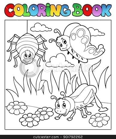 Coloring book bugs theme image 1 stock vector clipart, Coloring book bugs theme image 1 - vector illustration. by Klara Viskova