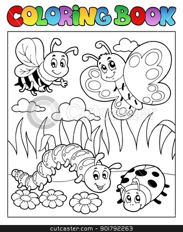 Coloring book bugs theme image 2 stock vector clipart, Coloring book bugs theme image 2 - vector illustration. by Klara Viskova