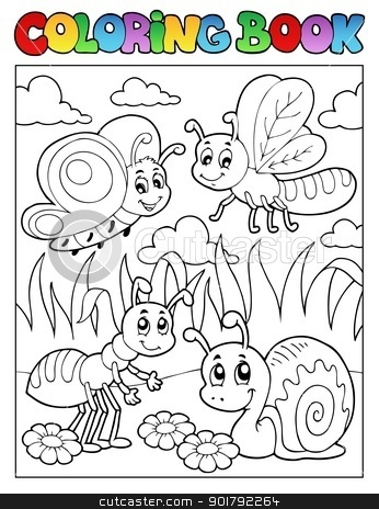 Coloring book bugs theme image 3 stock vector clipart, Coloring book bugs theme image 3 - vector illustration. by Klara Viskova