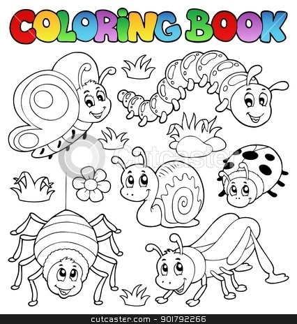 Coloring book cute bugs 1 stock vector clipart, Coloring book cute bugs 1 - vector illustration. by Klara Viskova