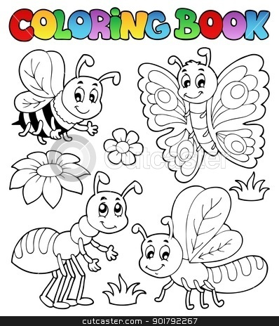 Coloring book cute bugs 2 stock vector clipart, Coloring book cute bugs 2 - vector illustration. by Klara Viskova