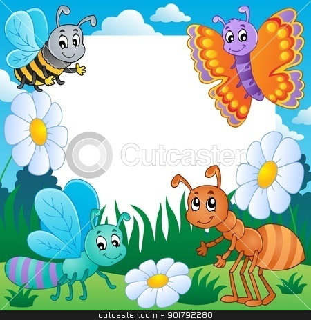 Frame with bugs theme 3 stock vector clipart, Frame with bugs theme 3 - vector illustration. by Klara Viskova