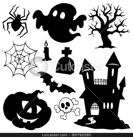 Halloween silhouettes collection 1 stock vector clipart, Halloween silhouettes collection 1 - vector illustration. by Klara Viskova