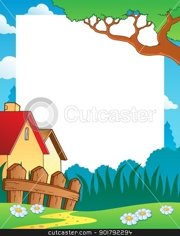 Landscape theme frame 1 stock vector clipart, Landscape theme frame 1 - vector illustration. by Klara Viskova
