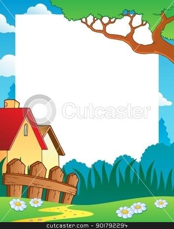 Landscape theme frame 1 stock vector clipart, Landscape theme frame 1 - vector illustration. by Klara Viskova