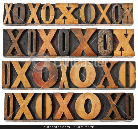 letters O and X in wood type stock photo, letters O and X in vintage letterpress wood type - four rows of different fonts - decoration or design elements by Marek Uliasz