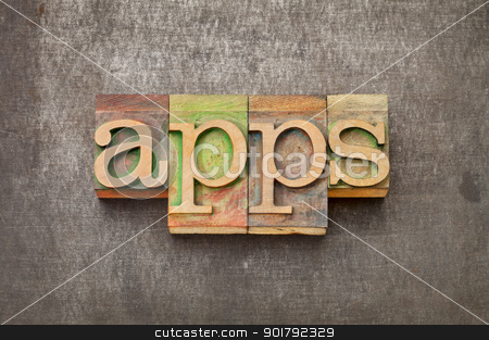 apps (applications) in wood type stock photo, apps (applications) - software  concept - text in vintage letterpress wood type against grunge metal surface by Marek Uliasz