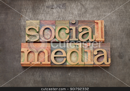 social media in wood type stock photo, social media - internet networking concept - text in vintage letterpress wood type against grunge metal surface by Marek Uliasz