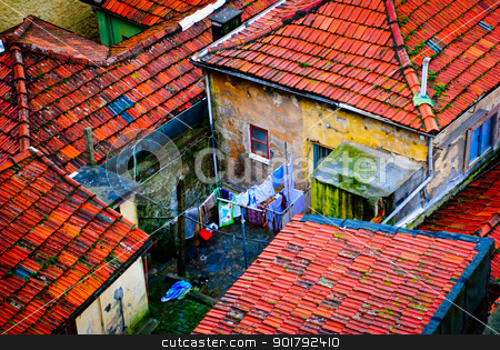 Houses, Porto stock photo, Old residential houses in Porto, Portugal by dinozzaver