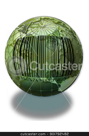 World bar Code stock photo, Bar code on earth. by WScott