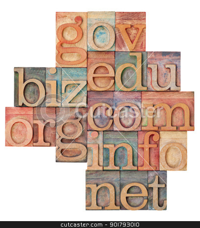 internet domains in wood type stock photo, collage of popular internet domain extensions (org, biz, gov, net, info, edu, com) - vintage letterpress wood type, stained by color inks, isolated on white by Marek Uliasz