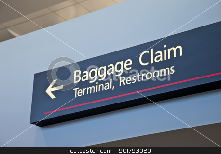 baggage claim sign stock photo, baggage claim, terminal, restrooms - airport sign with arrow by Marek Uliasz