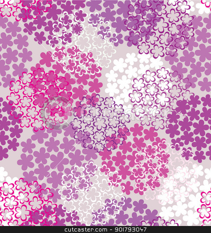 Decorative seamless flower background stock vector clipart, Decorative seamless colorful flower background in purple tones by Allaya