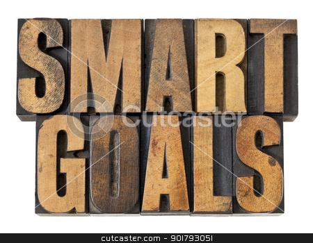 smart goals in wood type stock photo, SMART goals phrase - isolated text in vintage letterpress wood type by Marek Uliasz