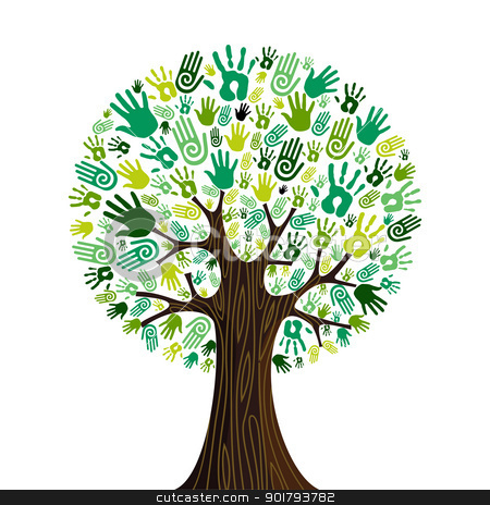 Go green hands collaborative tree stock vector clipart, Go green crowd human hands icons in isolated tree composition. Vector file layered for easy manipulation and custom coloring by Cienpies Design