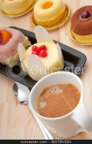 espresso coffee and  fruit cake stock photo, espresso coffee and  fruit cream cake pastry closeup by Francesco Perre