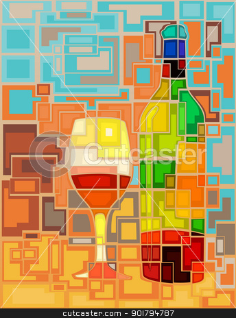 Wine mosaic stock vector clipart, Abstract mosaic editable vector illustration of a wine bottle and glass by Robert Adrian Hillman