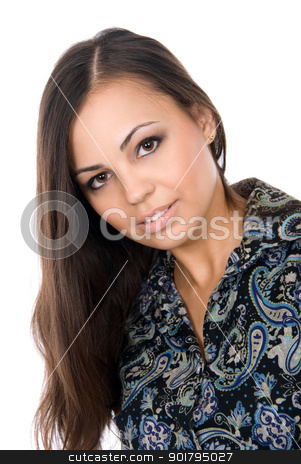 Portrait of the beautiful brunette stock photo, Portrait of the beautiful brunette isolated on white background by Vadim