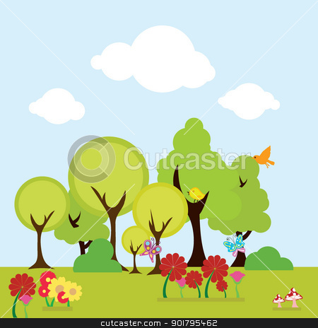 trees and floral background stock vector clipart, trees and floral background for nature, environment and others by glossygirl21