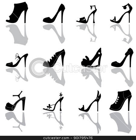 ladies shoes silhoeuttes stock vector clipart, ladies shoes silhoeuttes for shopping, dress up and ladies stuff icons by glossygirl21