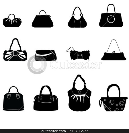 silhouettes bags stock vector clipart, silhouettes bags for shopping, ladies stuff by glossygirl21