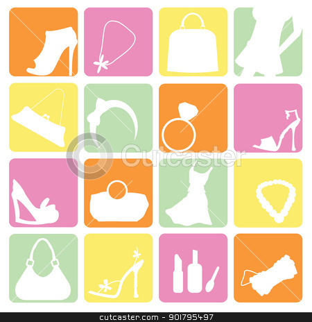 fashion items icons stock vector clipart, fashion items icons for fashion, shopping and new trends by glossygirl21