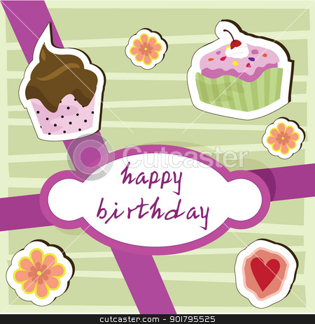 happy birthday cup cake card stock vector clipart, happy birthday cup cake card for birthday, party, fun and greeting card by glossygirl21