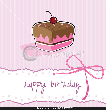 birthday cup cake card stock vector clipart, happy birthday cup cake ...