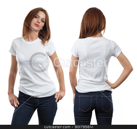 Sexy female wearing blank white shirt stock photo, Young beautiful brunette female with blank white shirt, front and back. Ready for your design or artwork. by © Ron Sumners