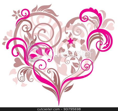 Beautiful background with heart stock vector clipart, Beautiful floral background with heart in pastel tones by Allaya