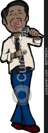 Handsome South Asian Singer stock vector clipart, Handsome male singer with microphone over white background by Eric Basir