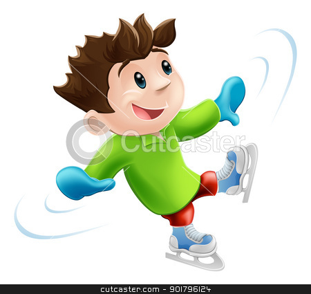 Ice skating cartoon stock vector clipart, Cartoon of a young man or boy having a wobbly ice skate!  by Christos Georghiou